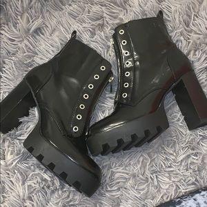 Zara Trafaluc Leather Black Zipper Boots Size 41